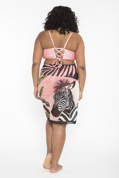 Siloett Coverup Coral Zebra Framed Sarong Cover Up