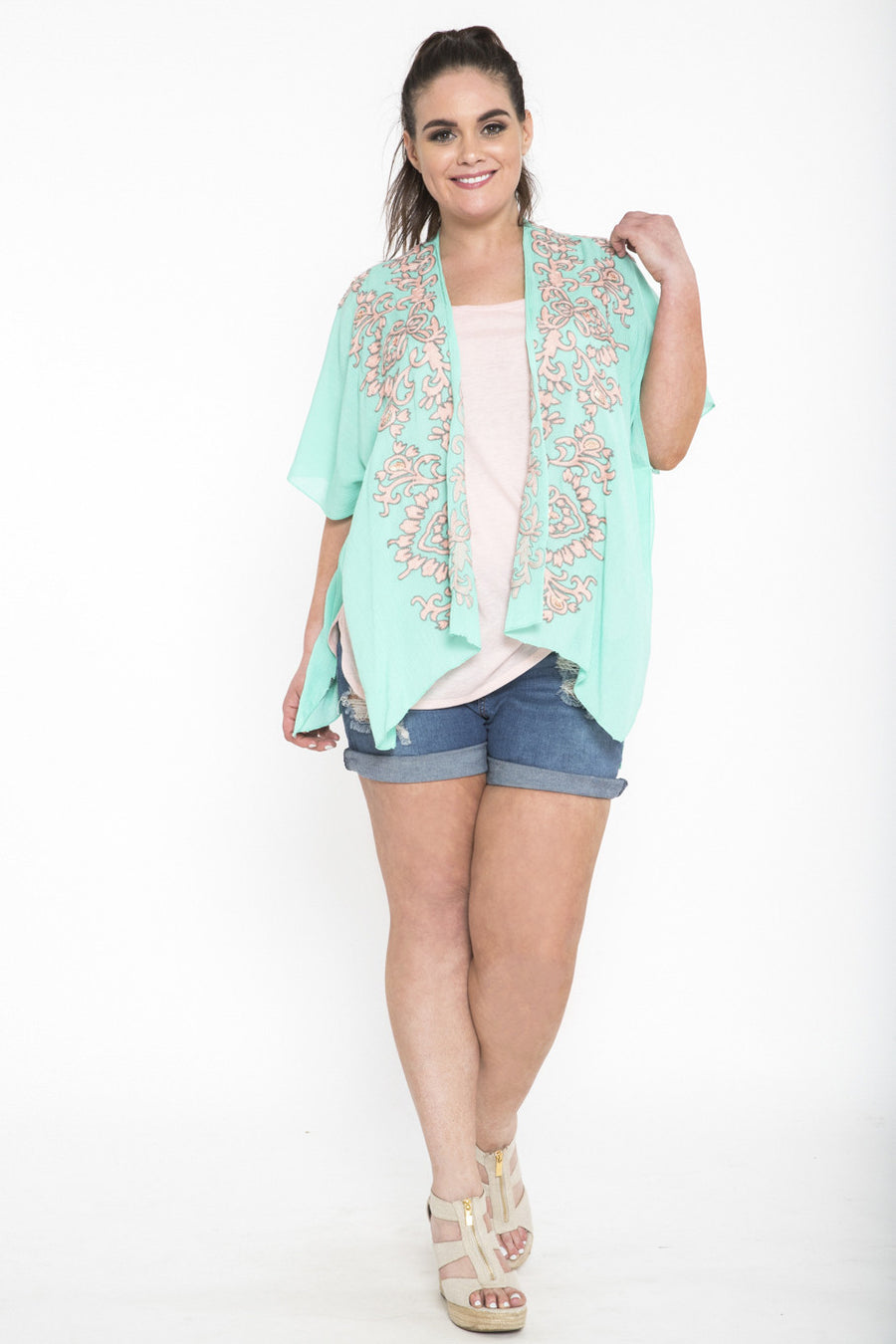 Siloett Coverup One Size Fits All (0-26) Turquoise Embroidered Drape Kimono