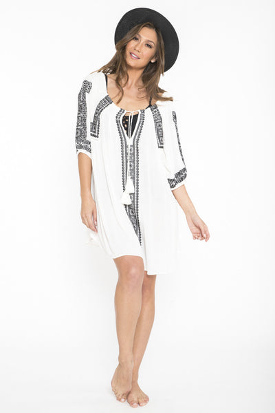 Siloett Dress One Size Fits Contemporary (0-14) White Embroidered Tunic Dress & Cover Up