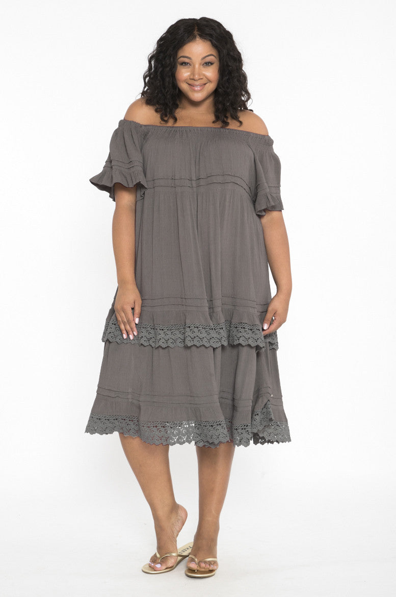 Siloett Dress One Size Fits Contemporary (0-14) Charcoal Tiered Dress