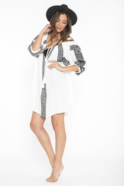 Siloett Dress White Embroidered Tunic Dress & Cover Up