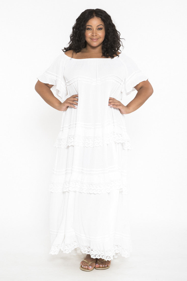 Siloett Dress One Size Fits Contemporary (0-14) White Tiered Maxi Dress