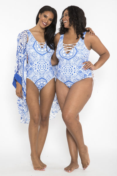 Siloett Swim 1 piece Garden Paisley Lace Up 1pc
