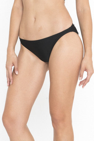 Siloett Swim Bottom Black Low Rise Shirred Back Bikini Bottom