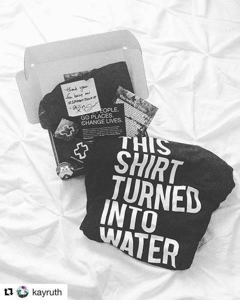 "IJ HAITI BOX and Shirt ""This Shirt Turned Into Water"" for Haiti (Black)"
