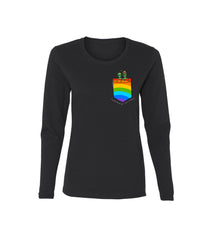 COSMIC LOVE PRIDE EDITION WOMENS LS TEE BLACK RAINBOW