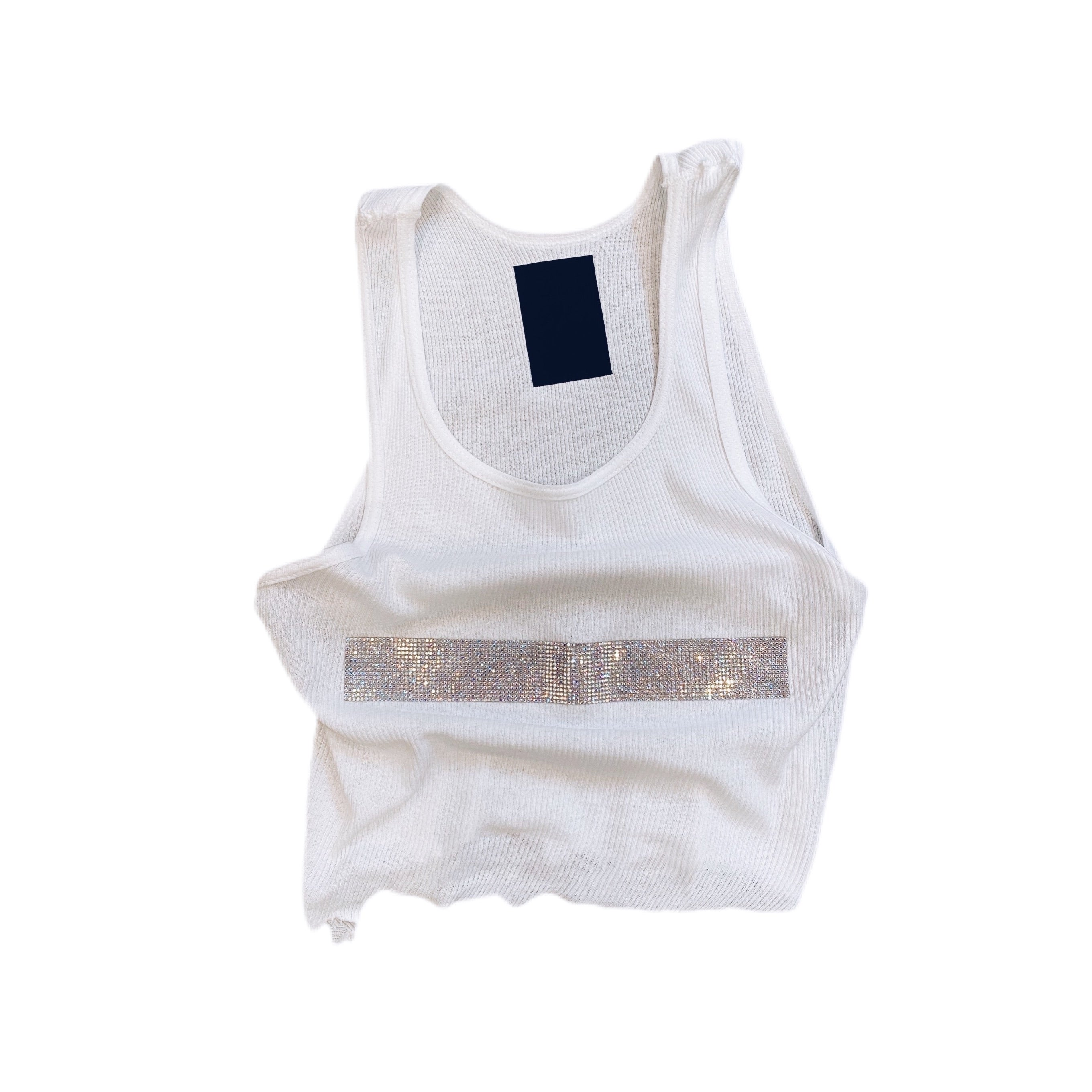 THE GWEN RIB NECK TANK WHITE