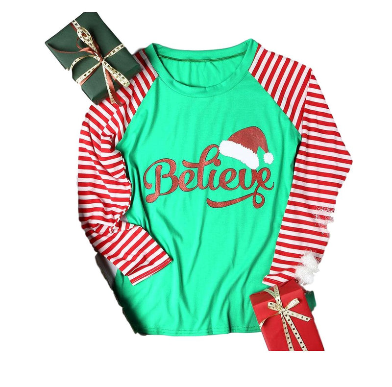 "Green with Red/White Raglan Striped Sleeves ""Believe"" Santa Hat Long Sleeve T-Shirt Top"