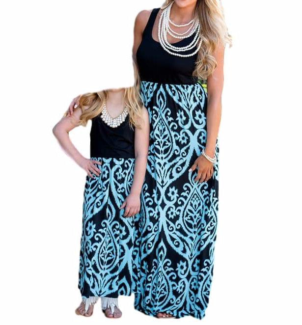 Sweet Black/Blue Mommy and Me Damask Print Matching Maxi Tank Dress  Mom and Daughter