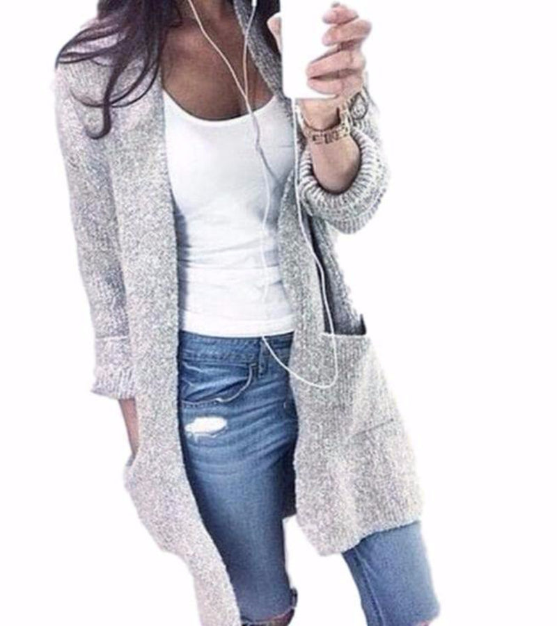 Women's Long Gray Cardigan Knit Sweater with Pocket Detail