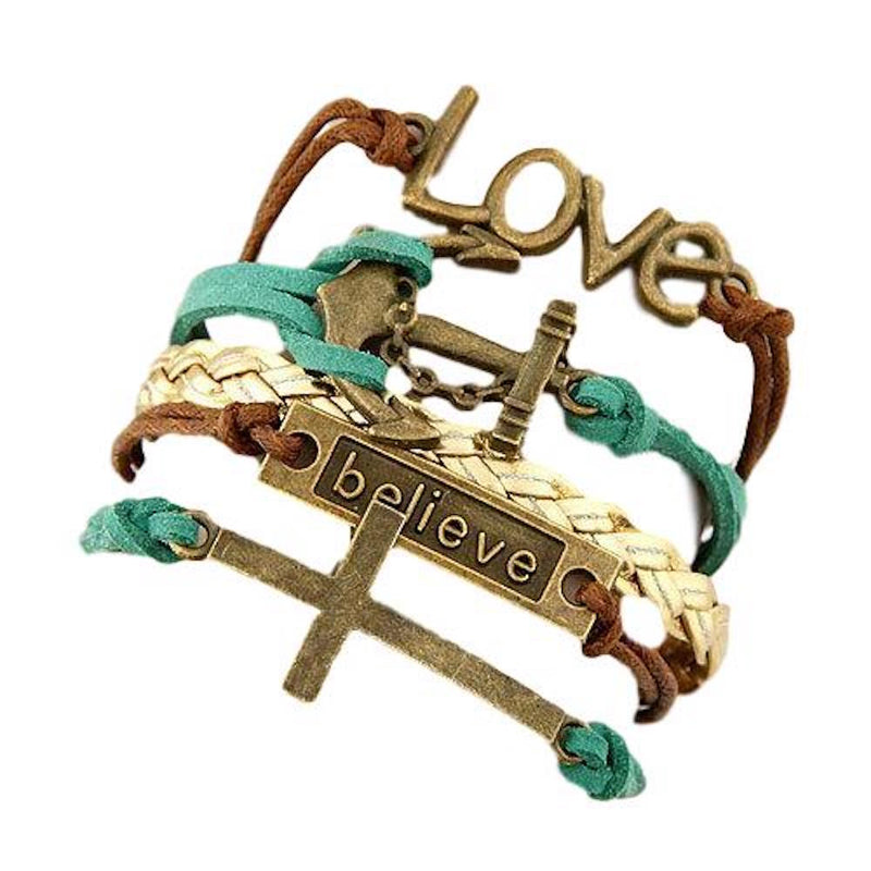 Multi 5 Layer Love, Anchor, Believe, Corss Charms Wrap Bracelet Faux Brown Blue Leather/Suede