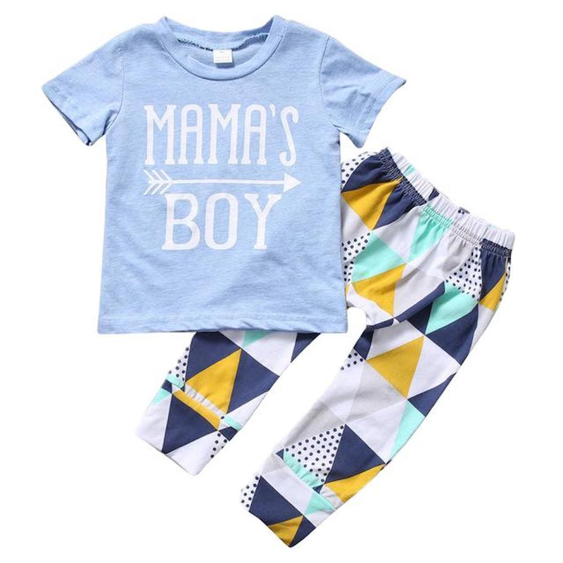 "Sweet Baby Boy ""Mama's Boy"" 2PCS Blue and Diamond Print T-Shirt and Pants Set"