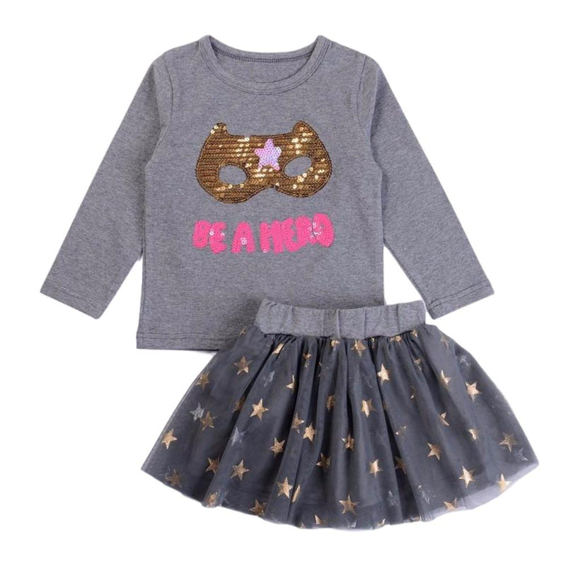 "Sweet Little Girls 2 Pc Gray Clothing Set ""Be a Hero"" Superhero Mask 2Pc Kids Clothing Set with Sequin Mask"