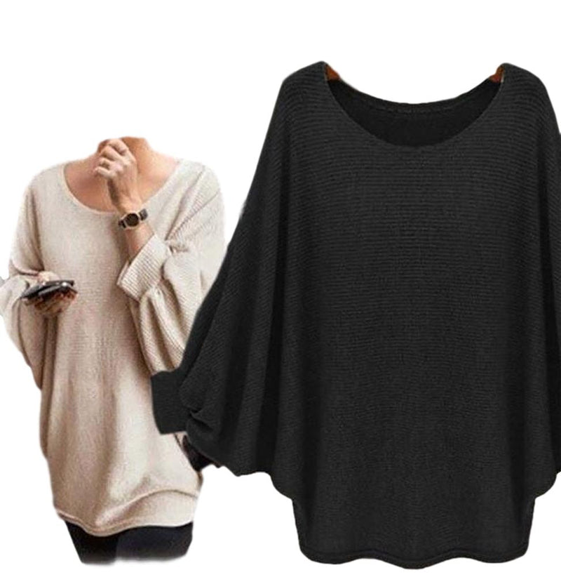 Women's Black Exaggerated Sleeve Poncho Oversized T Shirts Top