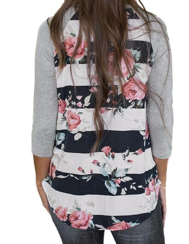 Women's Black/Gray with Striped Flower Baseball Style 3/4 Sleeve T-Shirt Top