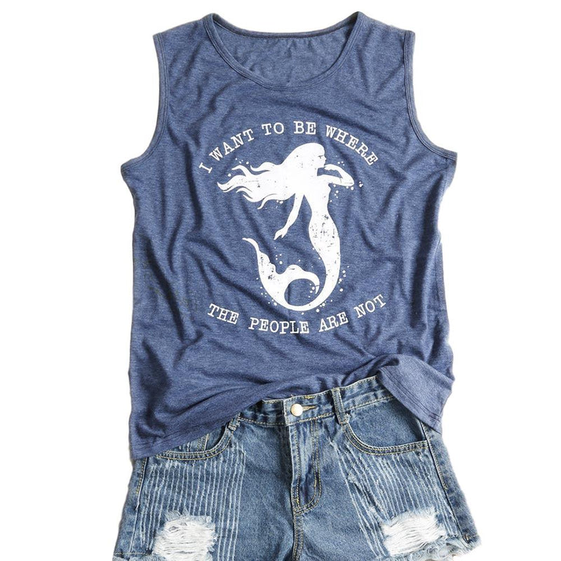 "Women's Blue  ""I Want to Be Where the People Are Not"" Mermaid Lovers Sleeveless Tank Top"