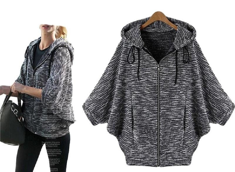 Women's Gray 3/4 Sleeve Dolman Casual Zippered Hooded Jacket