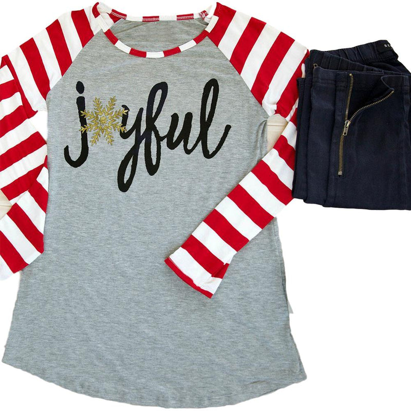 "Women's Gray ""Joyful"" with Red/White Candy Striped Raglan Sleeve T-Shirt Top"
