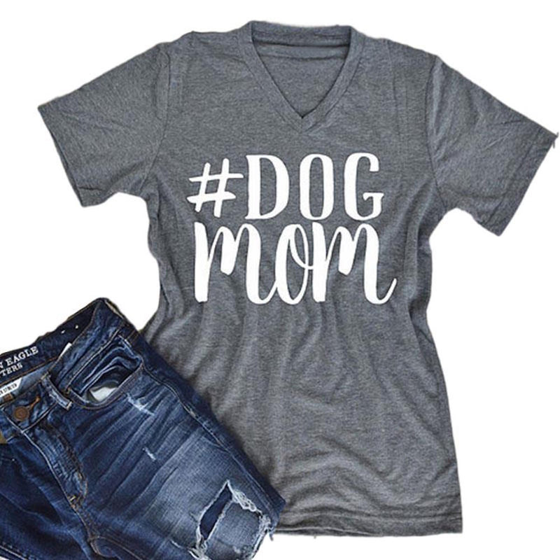 Women's Gray #Dog Mom Short Sleeve Summer V-Neck T-Shirt Top