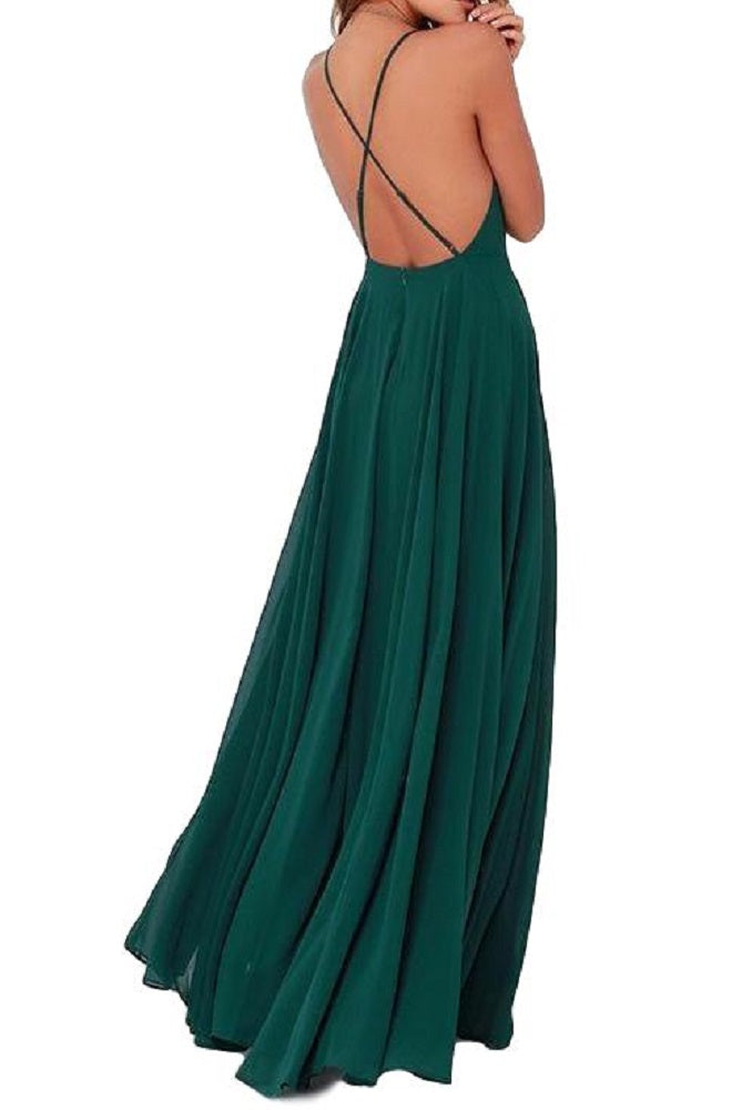 Women's Hunter Green Elegant Chiffon Criss Cross Open Back Maxi Dress Perfect for Weddings