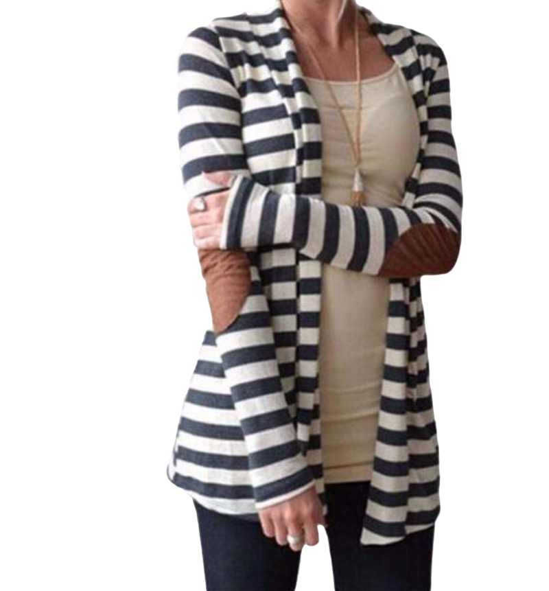 Women's Long Sleeve Black/White Striped Cardigan with Brown Faux Suede Arm Patches