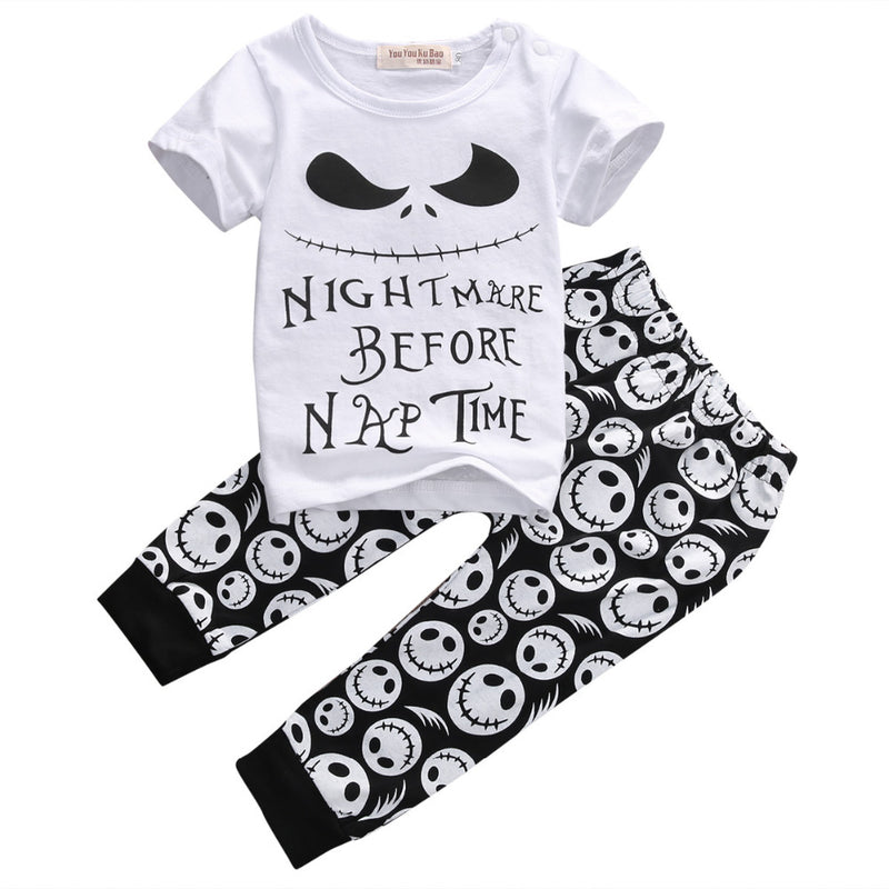 Funny Baby Nightmare Before Nap Time Black/White Cartoon Printed 2 Pc Set