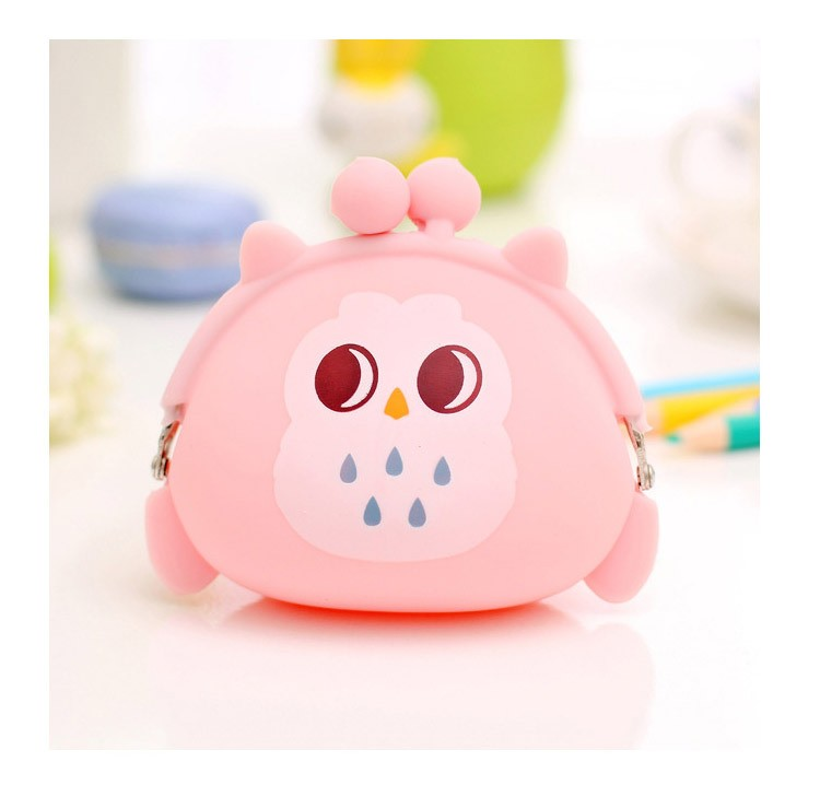 Adorable Pink Owl Wallet Silicone Small Twist Lock Coin Purse