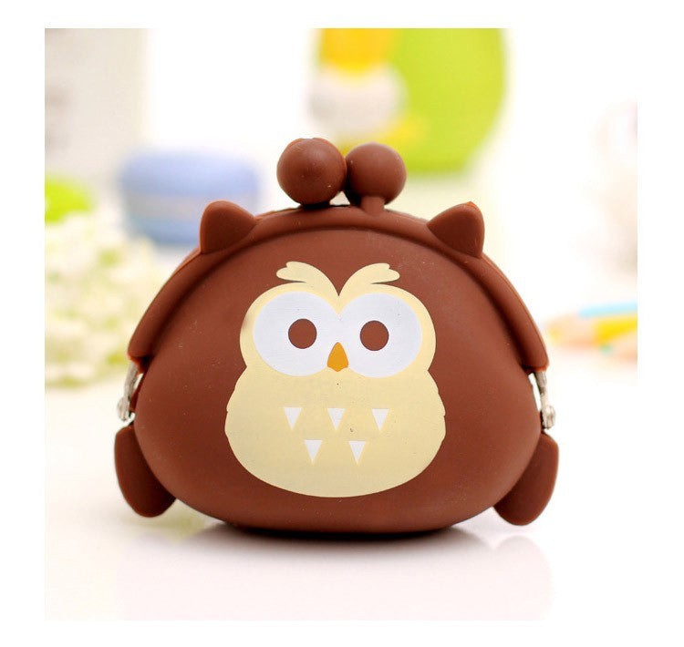 Adorable Brown Owl Silicone Small Twist Lock Coin Purse Wallet