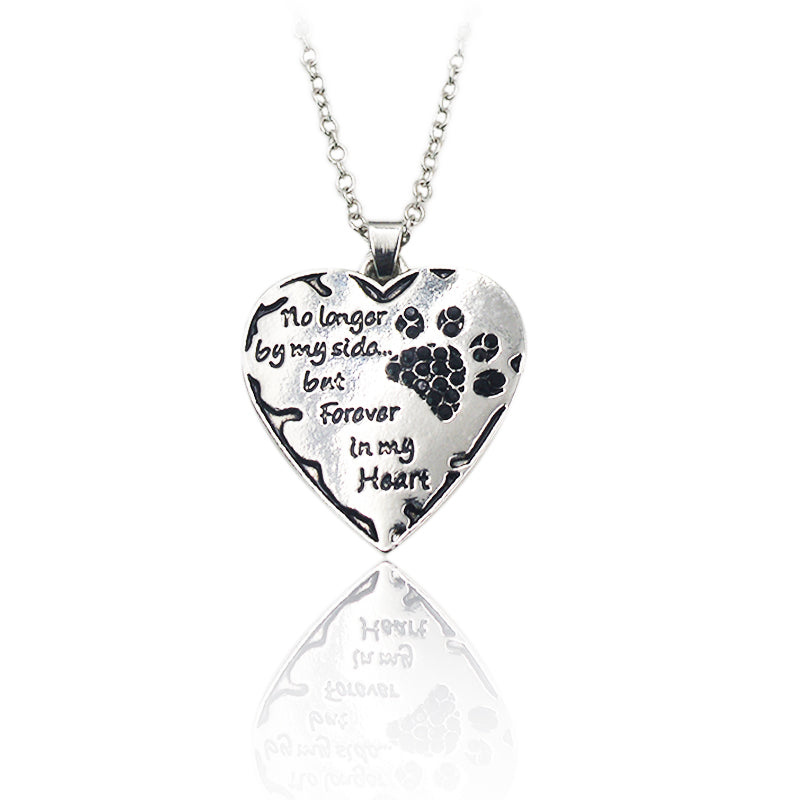 "Lovely Heart Puppy ""No longer be my side but forever in my heart"" Black Paw Memorial Charm Necklace"
