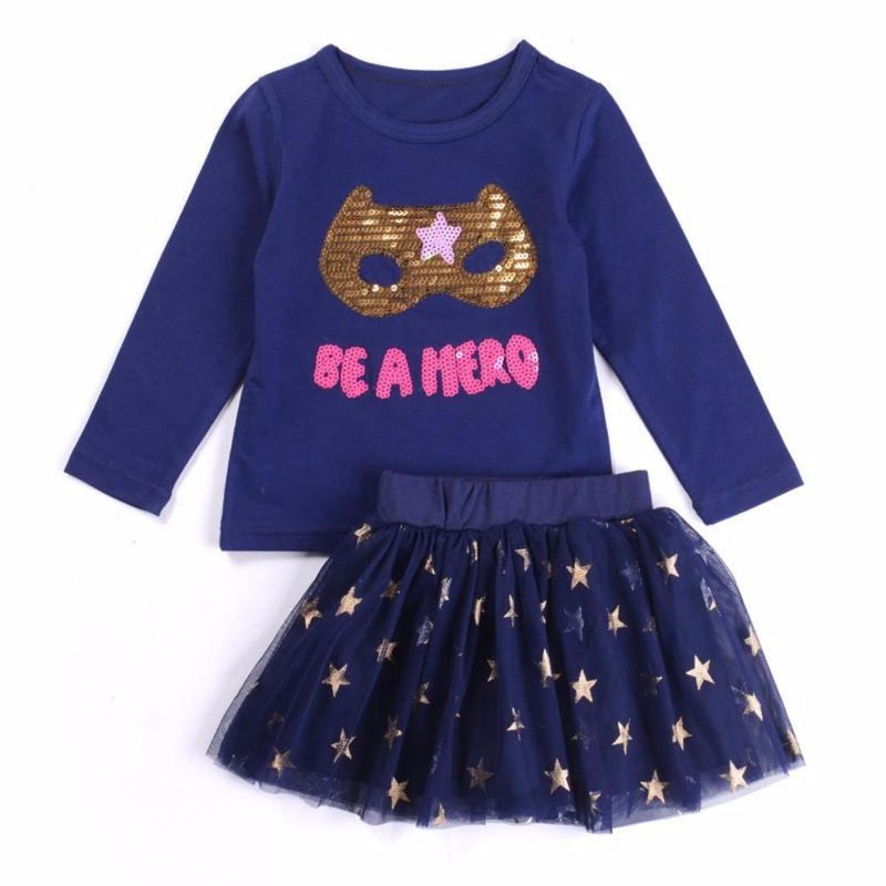 "Sweet Little Girls 2 Pc Navy Blue Clothing Set ""Be a Hero"" Superhero Mask 2Pc Kids Clothing Set with Sequin Mask"