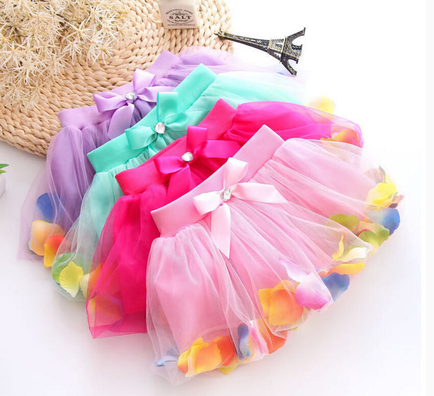 Adorable Toddler Girls Flower Petals Bow Princess Tulle Tutu Skirt 3T - 7