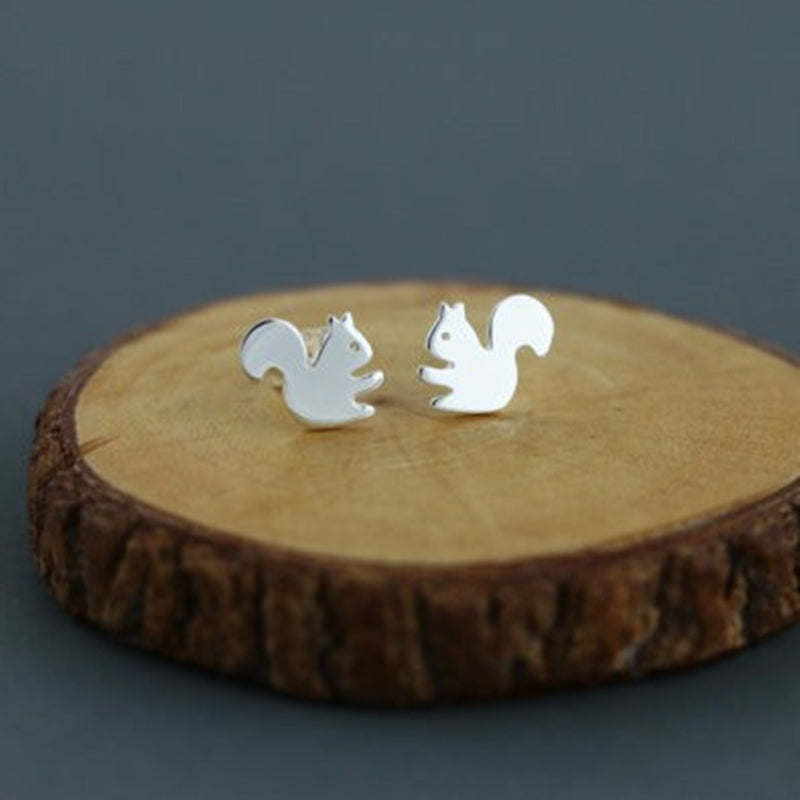 Adorable Tiny Squirrel Cutout Stud Earrings Silver Tone