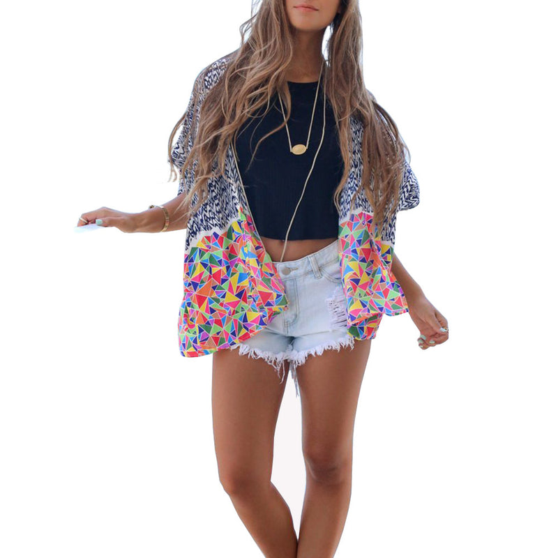 Women's Abstract Geometric Colorful Print Chiffon Kimono Cardigan Beach Cover
