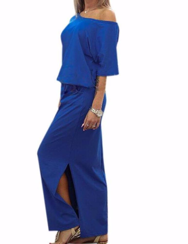 Royal Blue Off the Shoulder Boho Maxi Dress Short Sleeve with Side Slit & Pockets