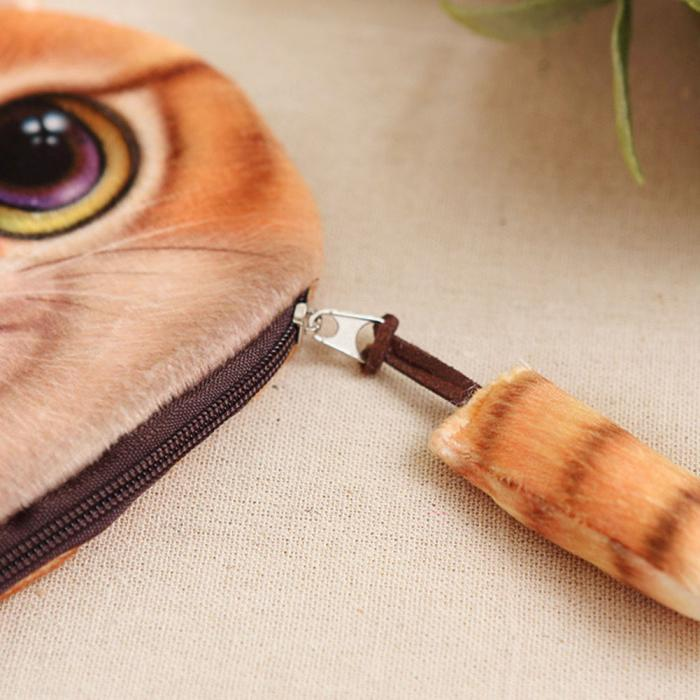 Adorable Brown Striped Small Kitty Cat Head with Tail Zippered Coin Purse