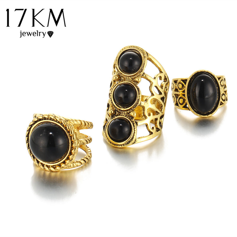 Beautiful Vintage Tribal/Vintage Look 3pcs/Set Midi Rings Gold Tone