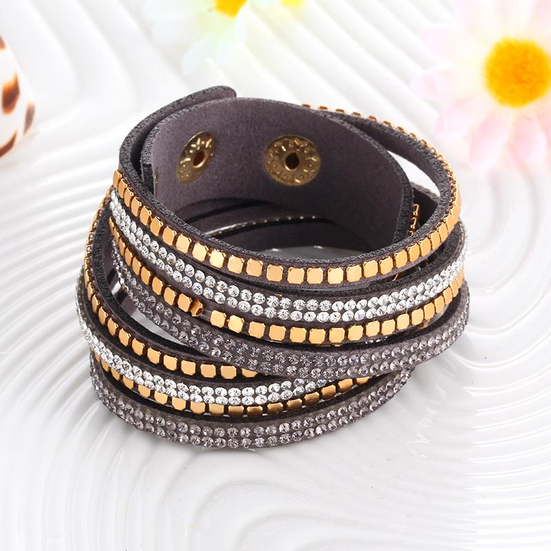 Awesome Charcoal Gray Faux Leather Bracelet with Metal Studs and Crystal Beaded Detail