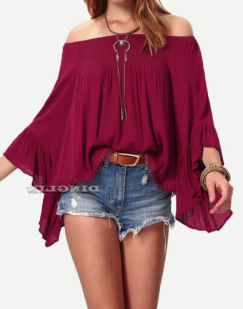 Women's Burgundy/Red Off Shoulder Bell Flare Sleeve Pleated Blouse