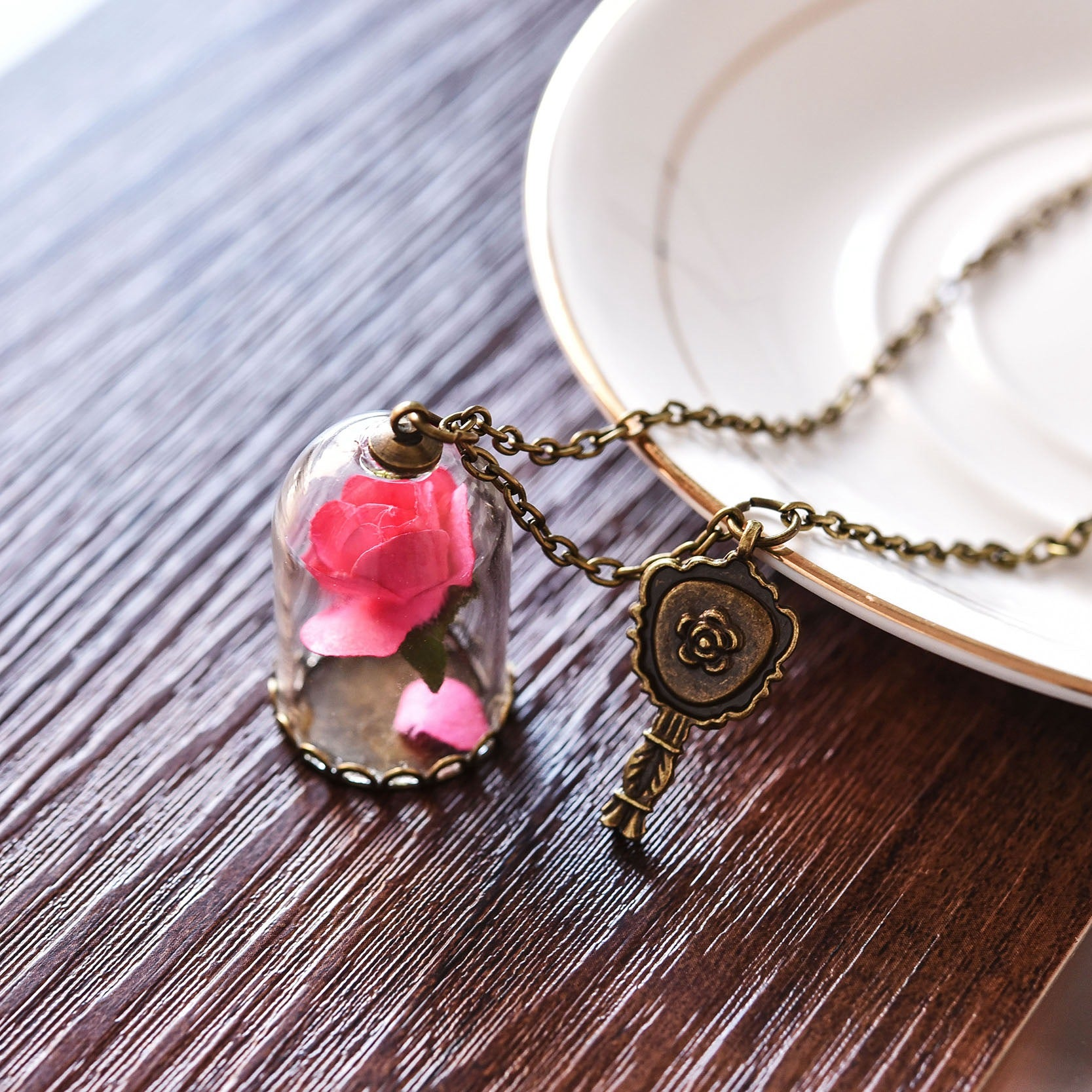 Lovely hot pink rose in glass vile pendant charm necklace fashion lovely hot pink rose in glass vile pendant charm necklace fashion vintage look gold tone audiocablefo