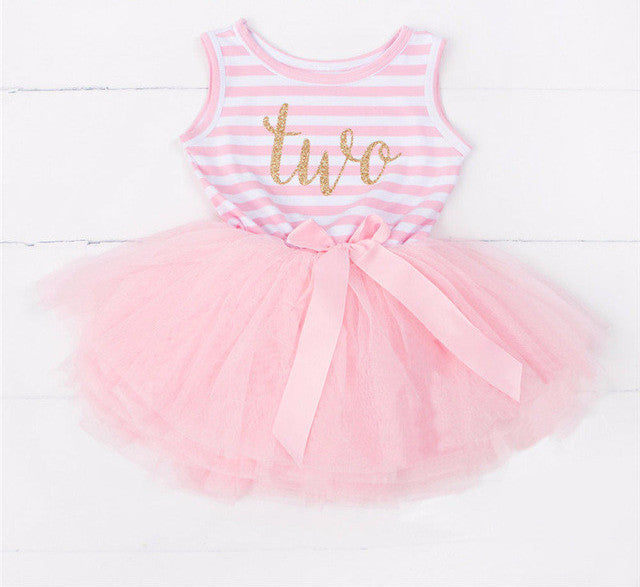 Baby Toddler Girl 2 Year Old Birthday Year Stripe and Tulle Skirt Dress 18 to 24 Mo