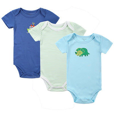 Newborn Baby Boy Blue Dinosaur and Ship Set of 3PCS Onesie Short Sleeve Body Suits