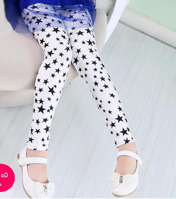 Adorable Little Toddler Girls Printed Leggings Pants White with Black Stars
