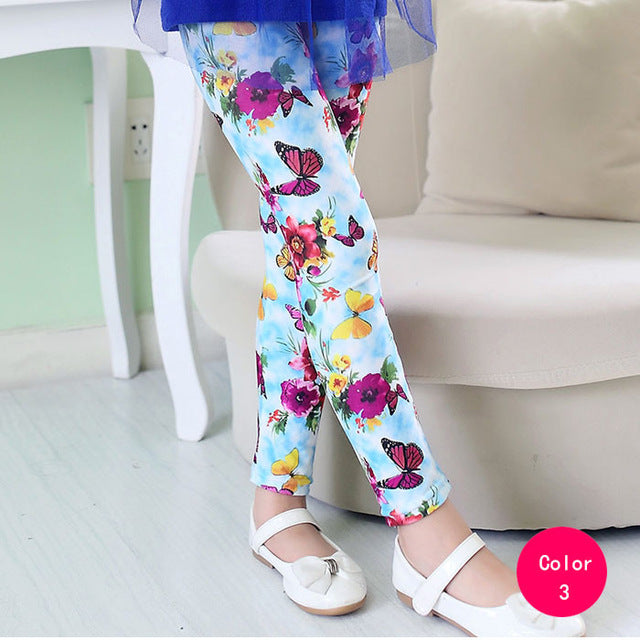 Adorable Little Toddler Girls Printed Leggings Pants Mint with Butterfly Flowers
