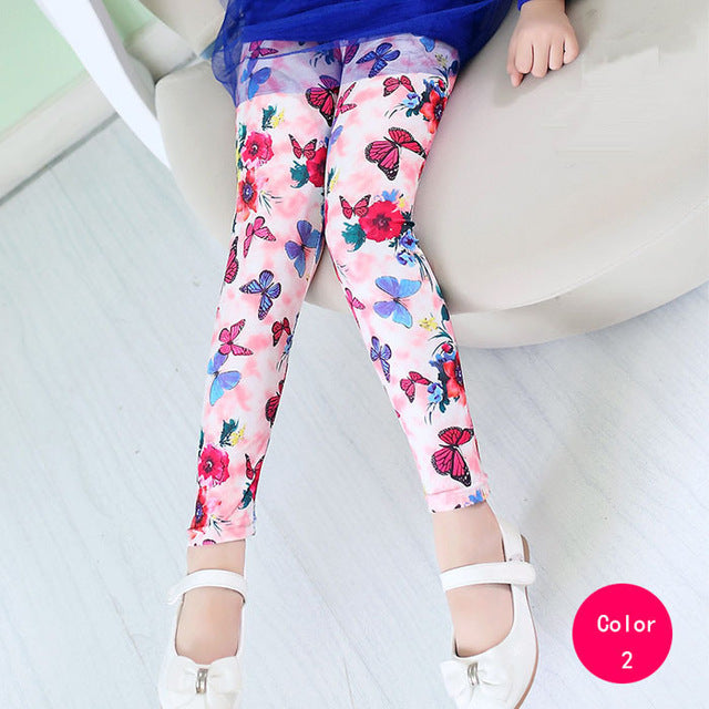 Adorable Little Toddler Girls Pink Flower and Butterfly Printed Leggings Pants