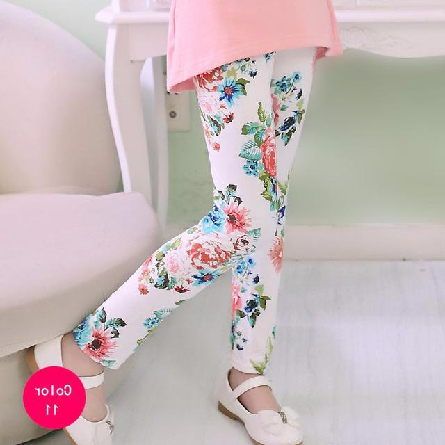 Adorable Little Toddler Girls Printed Leggings Pants White with Floral Print