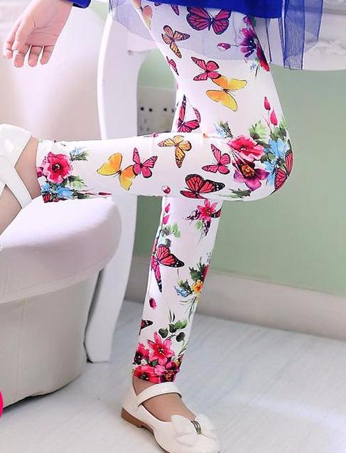 Adorable Little Toddler Girls Printed Leggings Pants White with Colorful Butterflies and Flowers