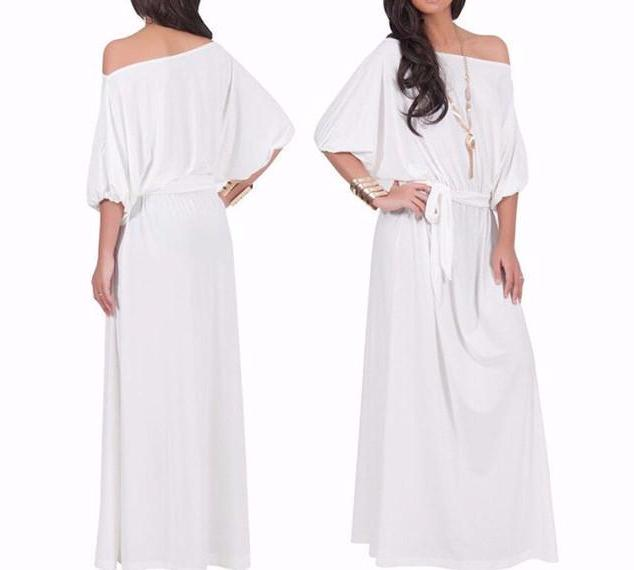 Women's BOHO White Flowy Off the Shoulder Long Maxi Dress with Tie