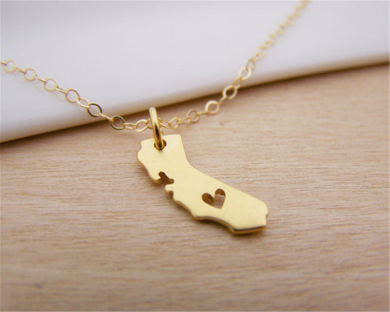 State of California Cutout State Map With Heart Necklace Gold Tone