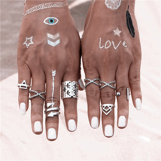 "Beautiful Vintage Arrow Criss Cross ""X"" Triangle Tribal Look 8pcs/Set Midi Rings Silver Tone"