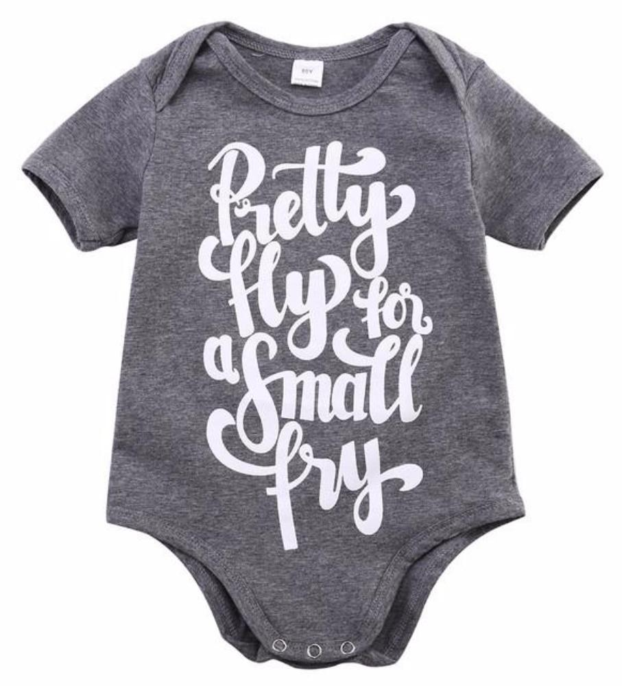 "Adorable Little Baby Boy/Girl Short Sleeve Body Suit ""Pretty Fly for a Small Fry"" T-Shirt Onesie"